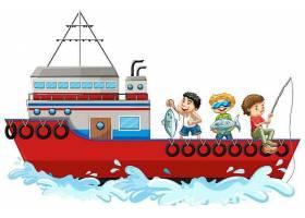 孤立在白色背景上的孩子们在船上钓鱼_127355700101