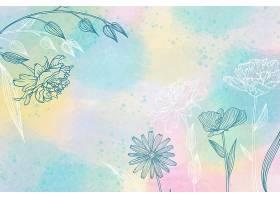 手绘元素的水彩背景_124271120101
