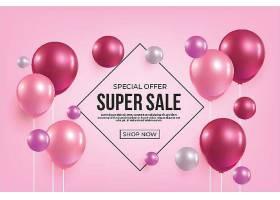 带有闪亮气球的逼真销售背景_128133460102