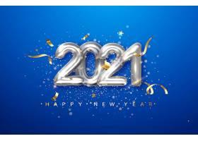 2021年蓝色背景上的银色金属数字日期为20_113257180101