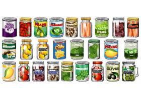 一套不同的罐头食品和隔离的罐装食品_127355710101