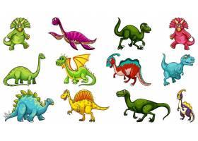 一组不同的恐龙卡通人物孤立在白色背景上_127356620101