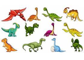一组不同的恐龙卡通人物孤立在白色背景上_127358270101