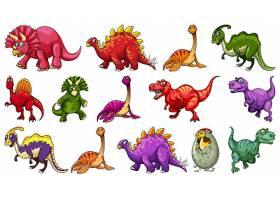 一组不同的恐龙卡通人物孤立在白色背景上_128690320101