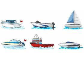 一组不同种类的船和船在白色背景上隔绝_127354580101