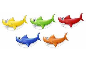 一组白色背景下孤立的许多微笑的可爱鲨鱼卡_127358340101