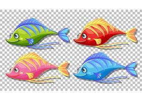 一组隔离在透明背景上的许多滑稽的鱼卡通形_127356900101
