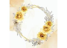 典雅的金黄玫瑰花环水彩画_128785650101