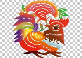中国风生肖剪纸鸡