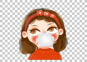 带口罩的可爱女孩插画素材图片