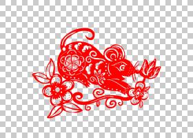 鼠年窗花剪纸中国风元素