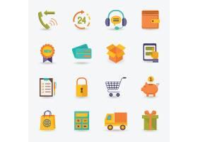 电子商务购物图标平集送货卡车信用卡存钱罐_101