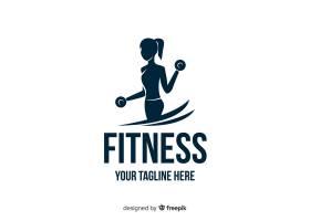 女孩剪影健身标志平面设计_4759998