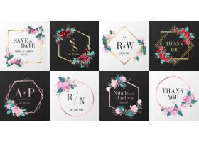 婚礼徽标收藏用于邀请卡设计的水彩花框_8337859