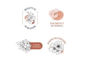 一组徽标花束春线艺术概念设计水彩画_12954230