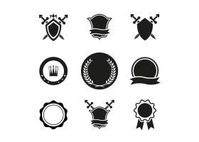 黑白矢量盾牌王冠和徽章图标用于徽标和其_10703339