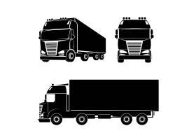 黑色剪影卡车标志图标汽车货物和船舱_11054060