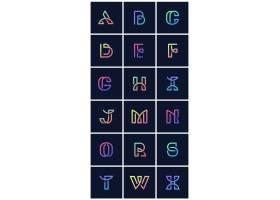 彩色复古字母向量集_3600951