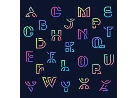 彩色复古字母向量集_3600952