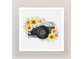 带金黄色花环的相机水彩画_12878461
