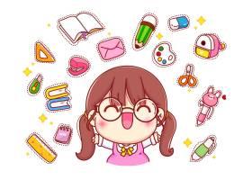 带文具LOGO卡通人物插图的快乐可爱女孩_11864857