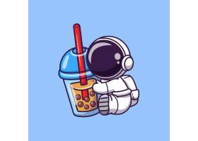 可爱的宇航员手持波巴奶茶卡通矢量图标插图_10411711