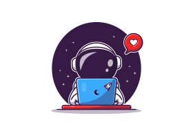 可爱的宇航员操作笔记本电脑的卡通矢量图标_10411620