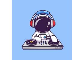 可爱的宇航员用耳机播放DJ电子音乐卡通图_10763908