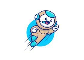 可爱的机器人飞行卡通插图人技术图标_10244952
