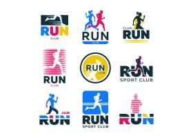 不同的复古运行平面标志集跑步者和运动员_10172617