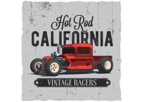 T恤和贺卡标签设计加州热棒复古海报_11243640