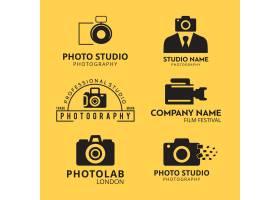 一套6个黑色图标供摄影师在黄色背景上使_1138412