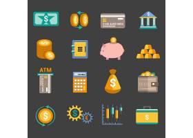 银行服务钱币图标设置有储蓄卡隔离矢量插图_1159298