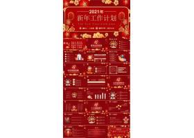 2021中国风红色新年工作计划方案通用ppt模板