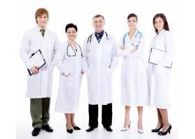 五位快乐成功微笑的医生站在一起_10626363