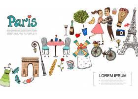 用情侣在爱情插图中写生巴黎元素_12858737