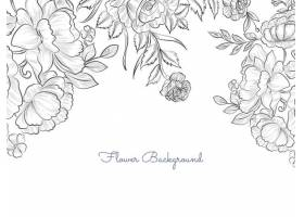 简约典雅的手绘花卉背景矢量_12587247