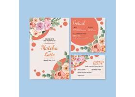 一种爱情绽放概念设计水彩插图婚卡模板_12928538
