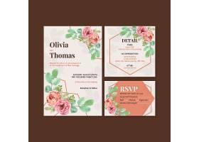 一种爱情绽放概念设计水彩插图婚卡模板_12928539