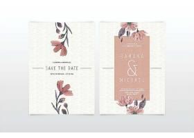 典雅简约的花卉婚礼邀请函模板_6528220