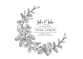 印有白花草海角铅花图案的结婚贺卡模板_11865018