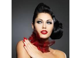 红指甲创意发型化妆模特造型的时尚美女_12264906