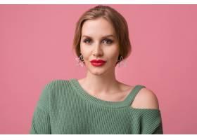 年轻性感美女的特写化妆时髦红唇绿色_10272915