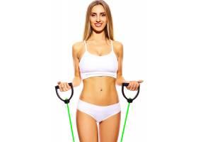 美丽运动年轻健身女郎身着白色内衣完美身材_7201411