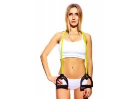 美丽运动年轻健身女郎身着白色内衣完美身材_7201418