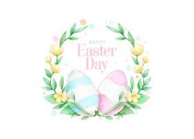 水彩春节复活节花环配粉色和蓝色彩蛋_6977482
