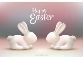 白色复活节兔子的模糊背景_1061038