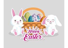 篮子里有彩蛋装饰的喜兔_5547401