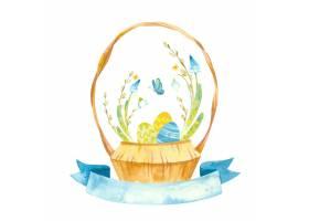 复活节贺卡配有更漂亮的篮子和蓝丝带插图_12205717