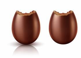 巧克力蛋整体和被咬的逼真矢量_7062766